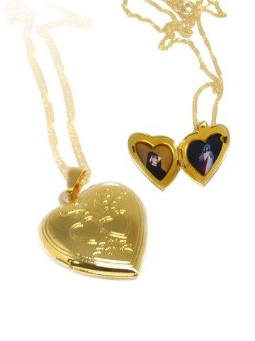 Corrente com Pingente de Coração Dourada - Jesus e Santa Faustina  - Ruah Artigos Católicos