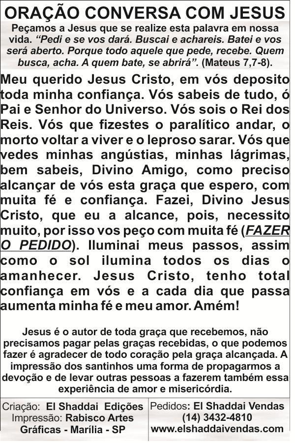 Santinhos da Oração Conversa com Jesus - Milheiro  - Ruah Artigos Católicos