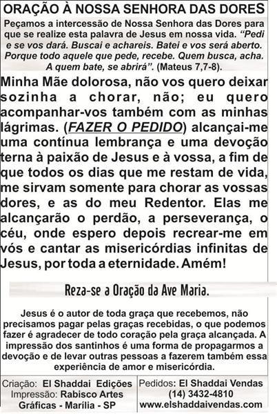 Santinhos de Nossa Senhora das Dores - Milheiro  - Ruah Artigos Católicos