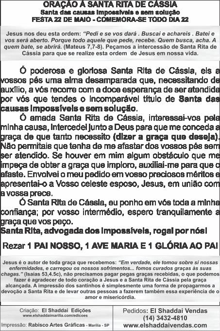 Santinhos de Santa Rita de Cássia - Milheiro  - Ruah Artigos Católicos