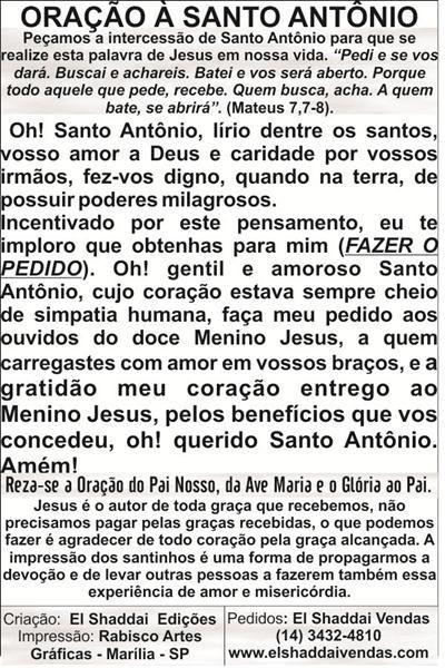 Santinhos de Santo Antônio - Milheiro  - Ruah Artigos Católicos