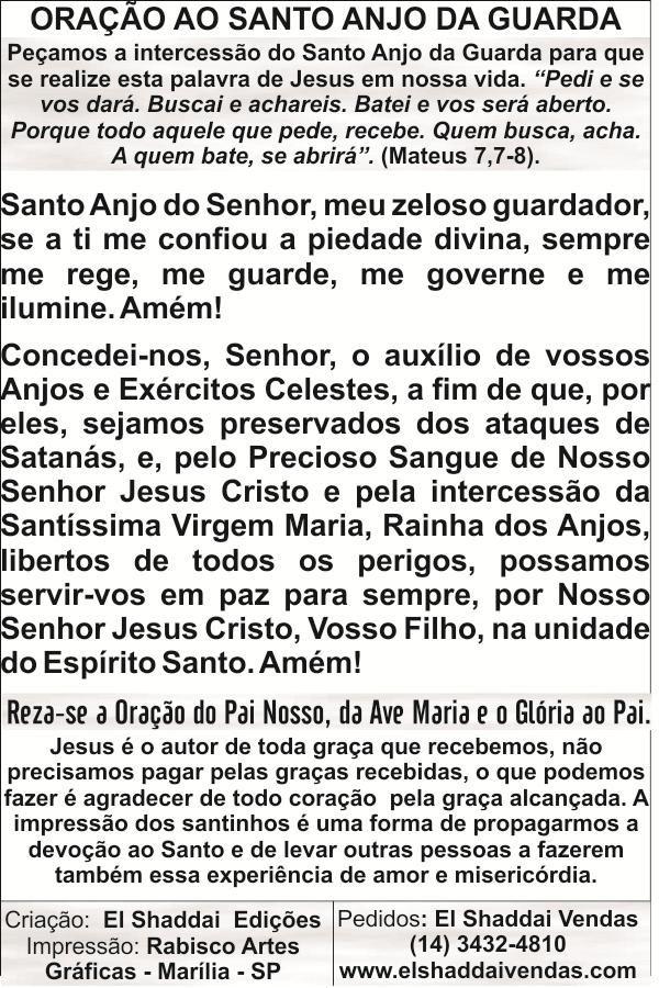 Santinhos do Santo Anjo da Guarda - Milheiro  - Ruah Artigos Católicos