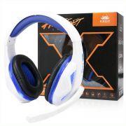 Fone Headset Gamer c/ LED Kp 396 Knup Branco / Azul Super Bass