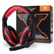 Fone Headset Gamer c/ LED Kp 396 Knup Preto/Vermelho Super Bass