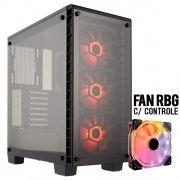Gabinete Gamer Infinity de Vidro Lotus Flowing Fan RBG c/ Controle