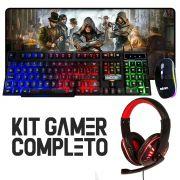 Kit Gamer Completo Teclado Mouse Headset Mouse Pad Extra Grande Pc