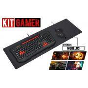 Kit Gamer Teclado e Mouse Combatt JM-8806 + Mouse Pad Extra Grande 70x35
