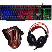 Kit Gamer Teclado Semi Mecanico + Mouse 3200dpi +headset Led