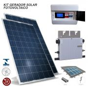 Kit Gerador Solar Fotovoltaico 640 Watts 02 PAINEIS + Micro Inversor + Kit Fixação + String Box