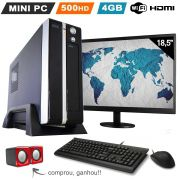 Mini Pc Desktop 4GB HD 500GB c/ Monitor Wifi Hdmi
