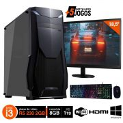 Pc Gamer Completo i3 8GB HD 1000GB R5 230 c/ Monitor Wifi Hdmi Win10