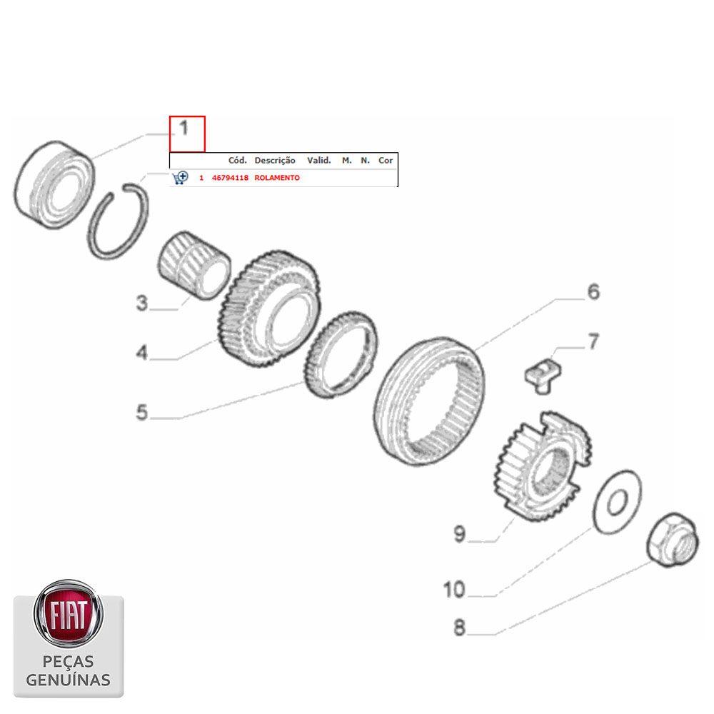 Rolamento Do Cambio Fiat Diversos Modelos Original Cod. 46794118