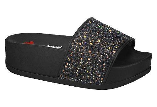 a53f4acb65 Slide Feminino Flatform Glitter Moleca - 5432.101