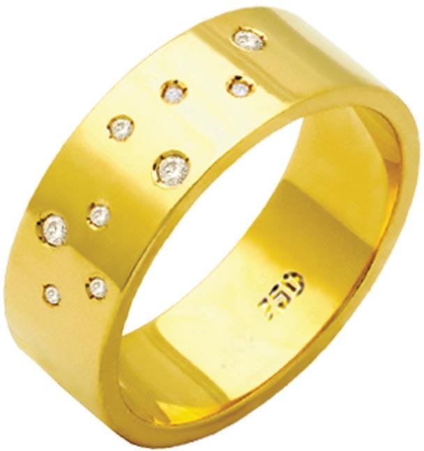 Aliança Céu Estrelado de Ouro 18K ZAE183