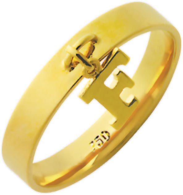 anel personalizado de filhos ou letra em ouro 18k