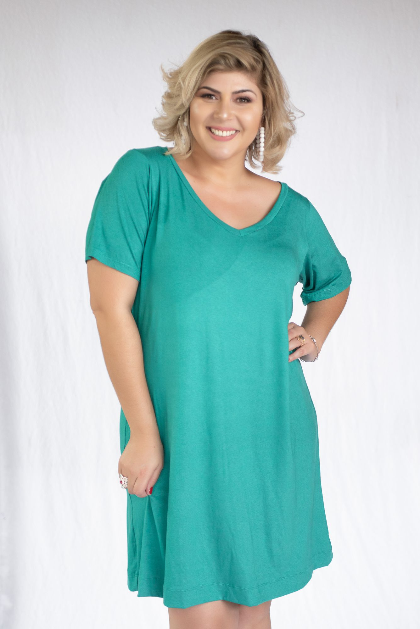 Vestido Camisetão Decote V Jade
