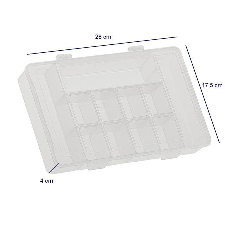 Caixa plástica organizadora, translúcida, G com 11 divisórias fixas