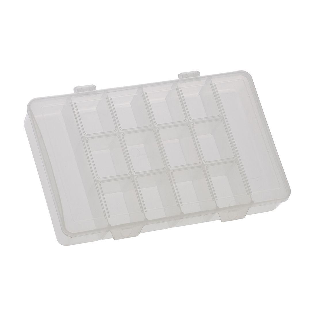 Caixa plástica organizadora, translúcida, M com 14 divisórias fixas