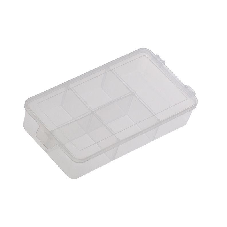 Caixa plástica organizadora, translúcida, P com 5 divisórias fixas