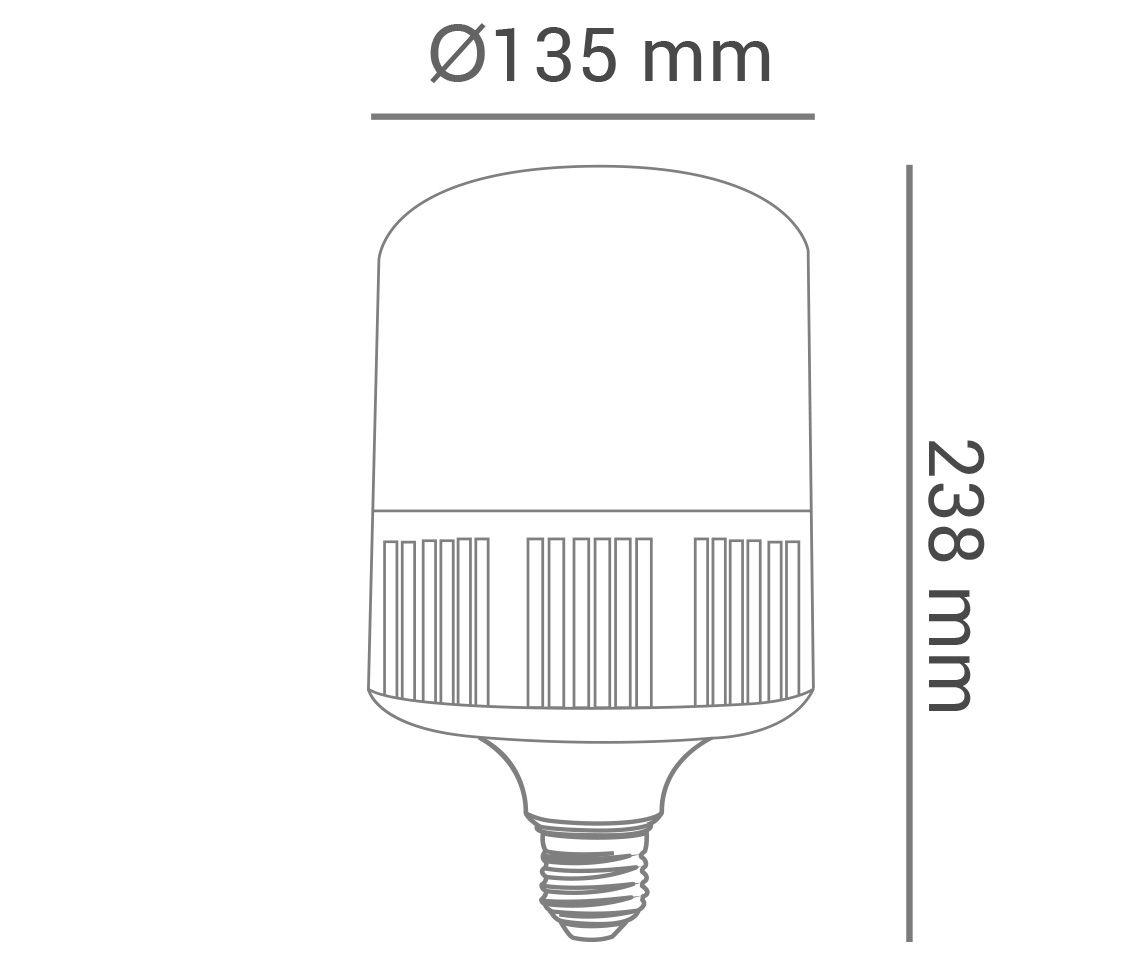 Lâmpada Bulbo T LED, branco frio, 65W, 5400lm, 6.500K