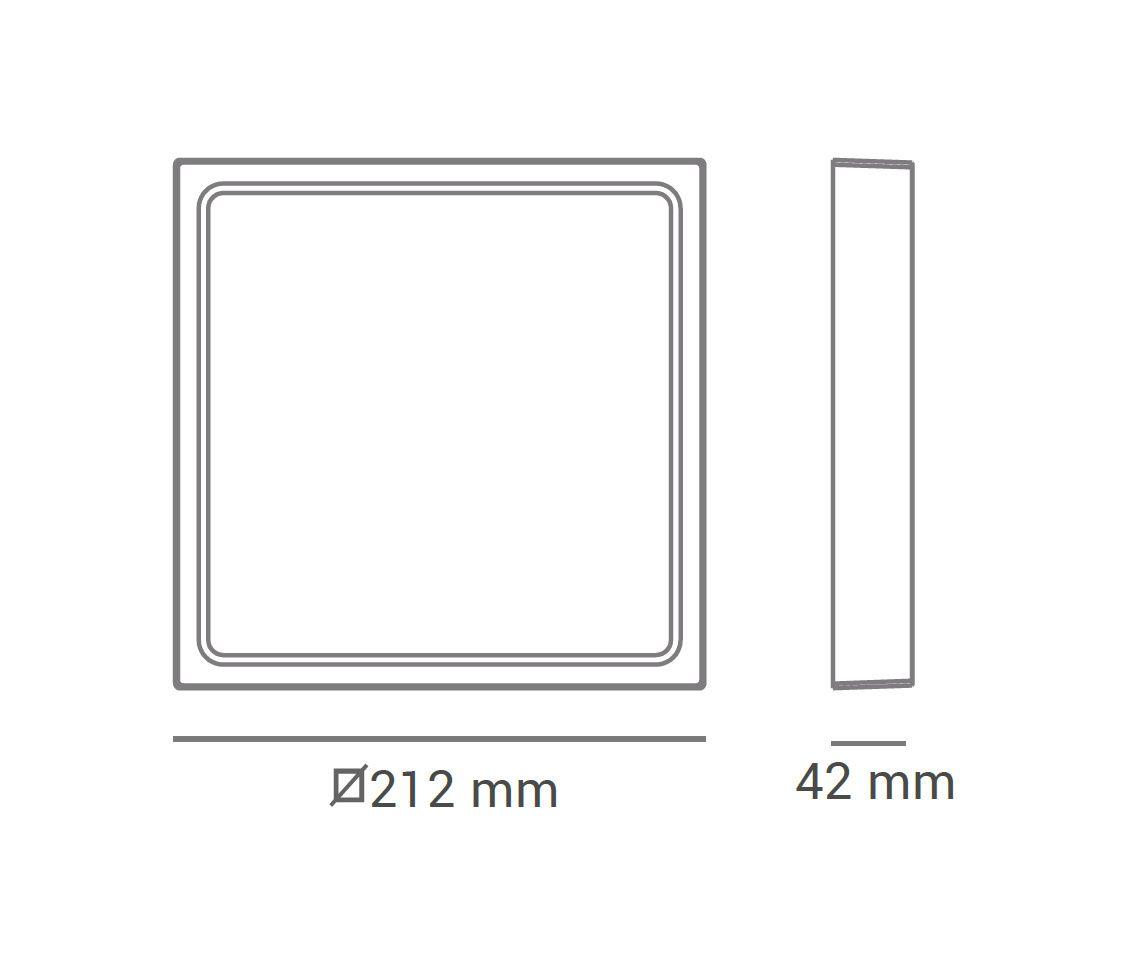 Paflon ECO 30470 21,2x21,2 quadrada de sobrepor, luz branca neutra, 18W, 1116lm, 4.000K