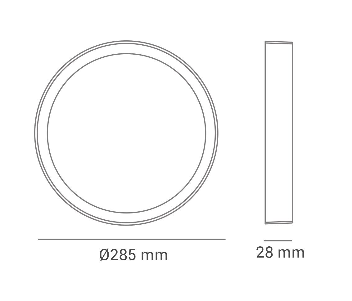 Paflon ECO 33853 28,5x28,5 redonda de embutir, luz branca neutra, 24W, 1200lm, 4.000K