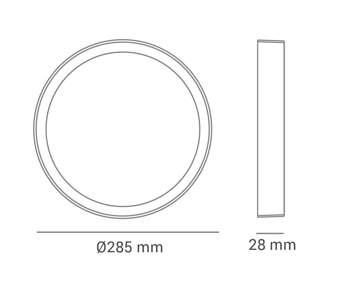 Paflon ECO 33860 28,5x28,5 redonda de embutir, luz branca fria, 24W, 1200lm, 6.500K