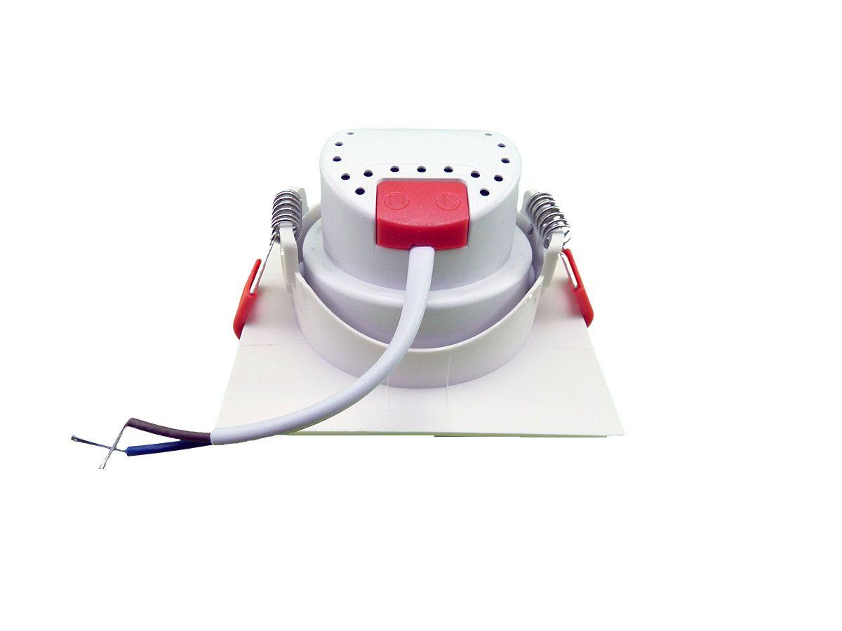 SPOT LED ECO quadrado branco frio de embutir, 3W, 230lm, 6.500K