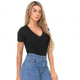 Blusa T-Shirt Decote V Preta