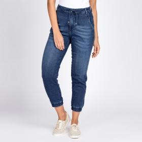Calça Jogger Jeans Moletom Elástico Barra