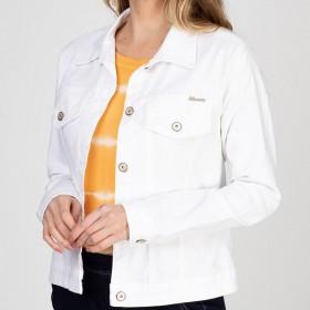 Jaqueta Jeans tipo Moletom Cor Branca