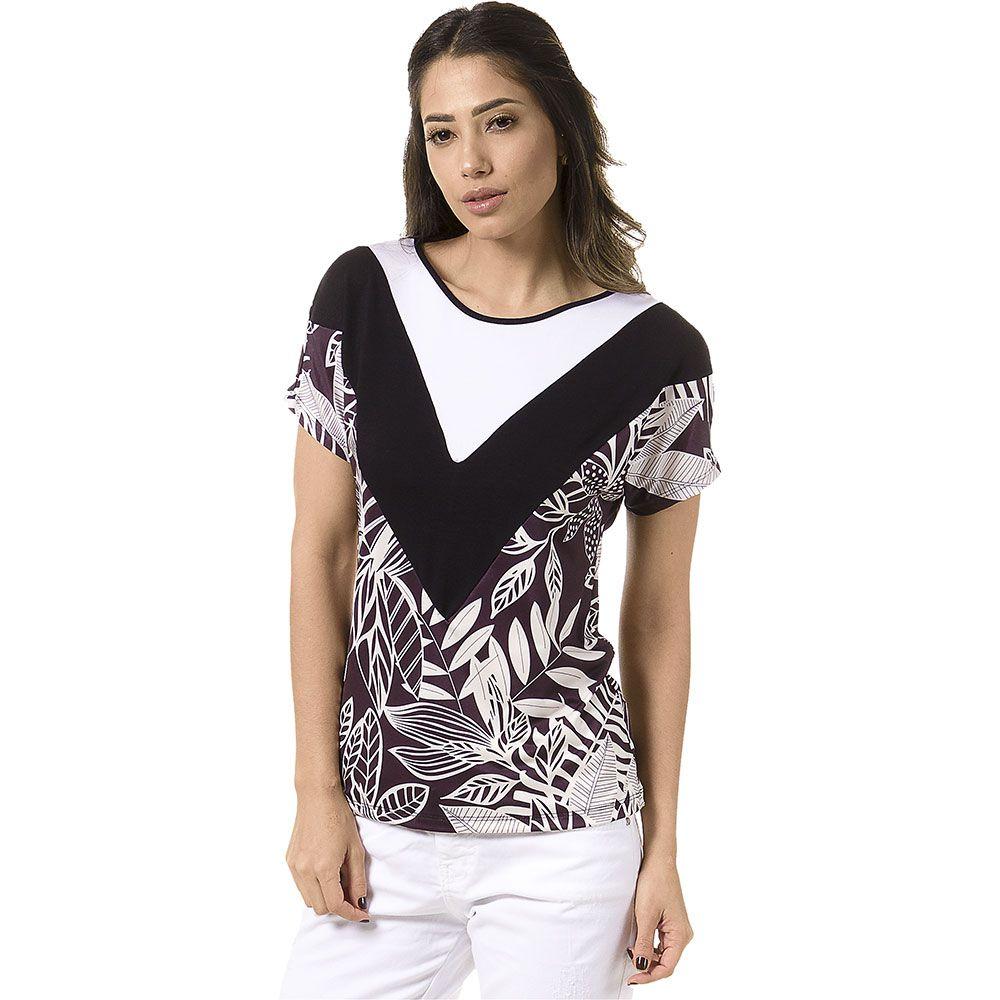 Blusa Estampada Mix de Tecidos