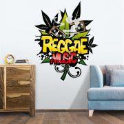 ADESIVO DE PAREDE - FRASE: REGGAE MUSIC
