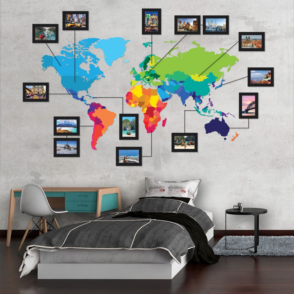 Adesivo de parede Mapa-Múndi colorido com molduras em PS 2mm