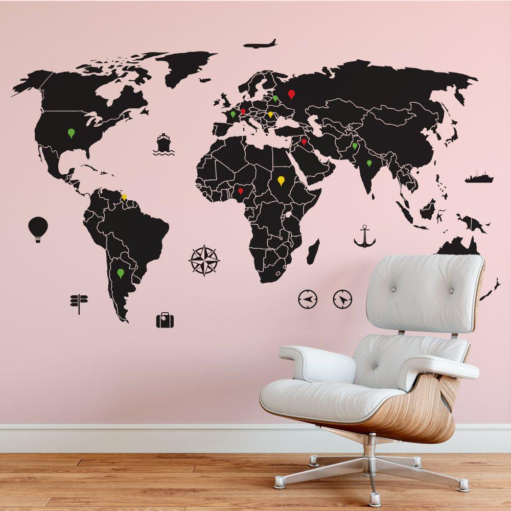 Mapa-Múndi com PINS adesivos coloridos