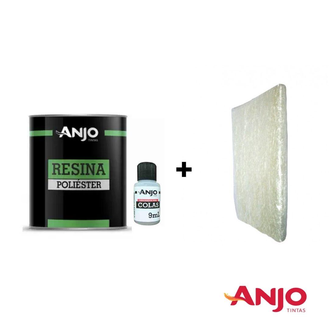 Anjo Resina Adesivo de Laminação 990g c/ Catalisador (Kit c/ ou S/ Manta de Fibra)