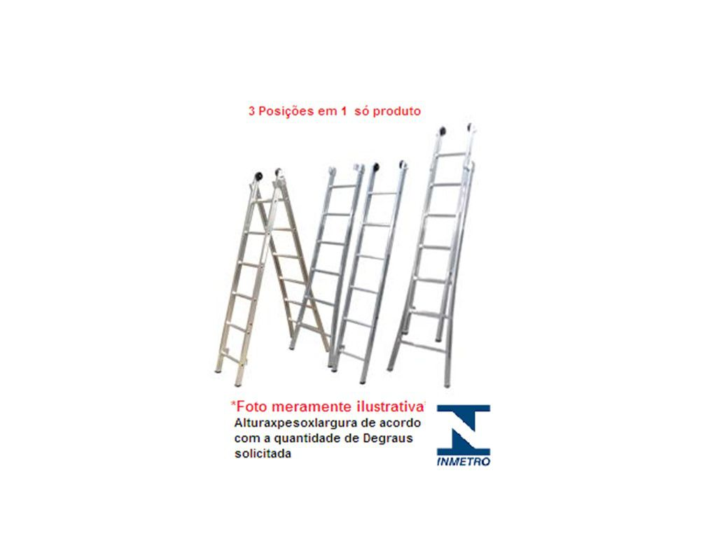 Escada Profissional Extensiva Dupla Alumínio 3Em1