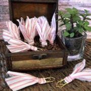 clips de tecido feito à mão (rosa listrado)