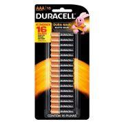 Pilha Alcalina AAA Duracell cartela c/ 16 pilhas