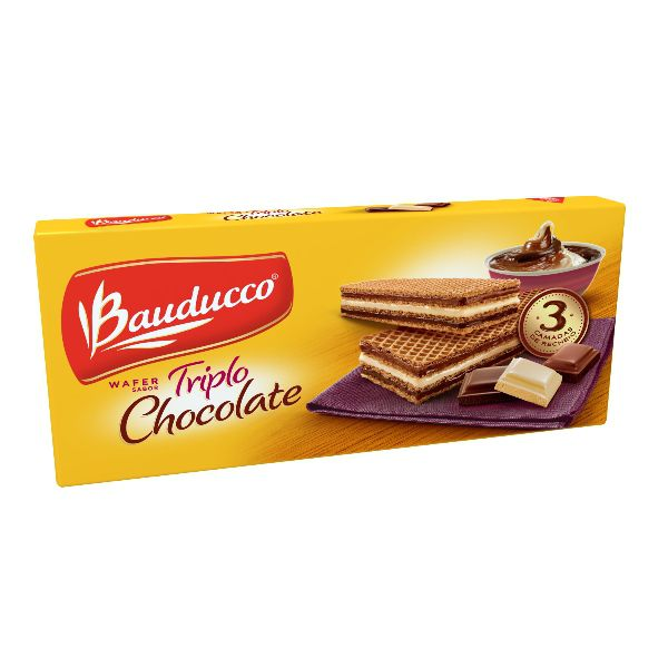 Biscoito Bauducco Wafer Triplo Chocolate