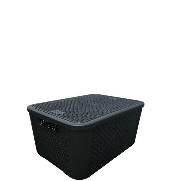 Container 36 Litros Rattan Preto Nº4  Plasnew