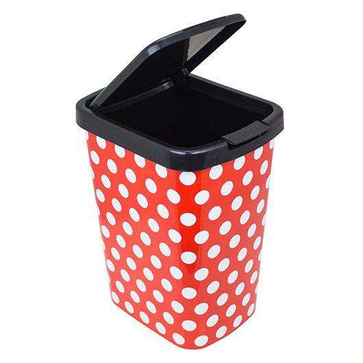 Lixeira Automática Arqplast 9 litros - Plástica - Poa Vermelho