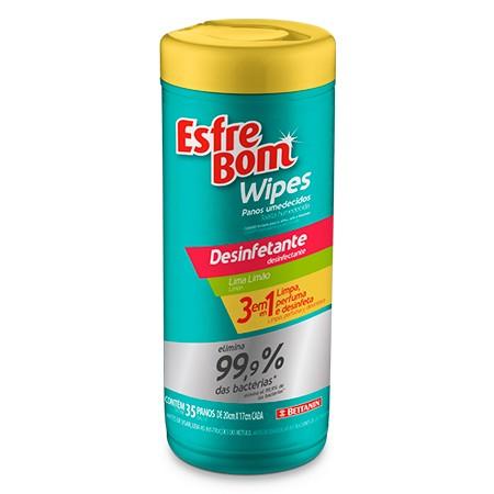 Panos Umidecidos Esfrebom Wipes Desinfetante