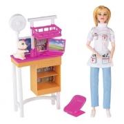 Boneca Lucy Veterinaria com Acessórios Braskit