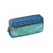 estojo blush 1 compartimento  com bolso azul