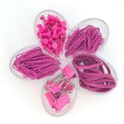 KIT CLIPS FLOR DE LOTUS PINK SET (BINDER,PERCEVEJOS,CLIPS E ELASTICOS)