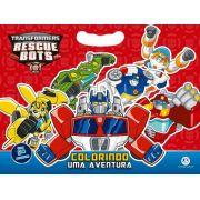 LIVRO MONOBLOCO MINI Transformers - Colorindo uma aventura