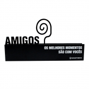 PLACA  AMIGOS  PORTA RETRATO MDA 19X6CM