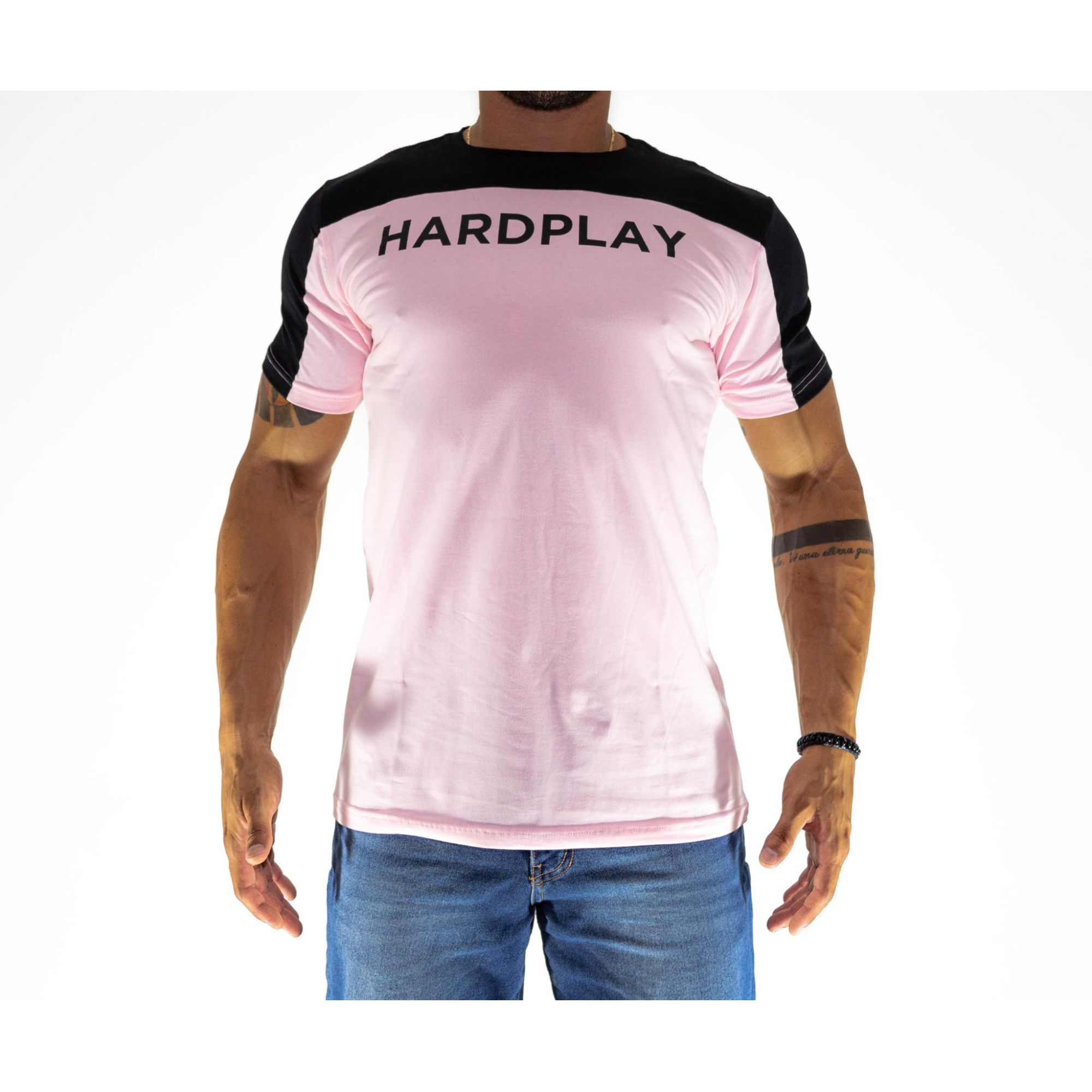 Camiseta HardPlay Recorte  Rosa e Preto