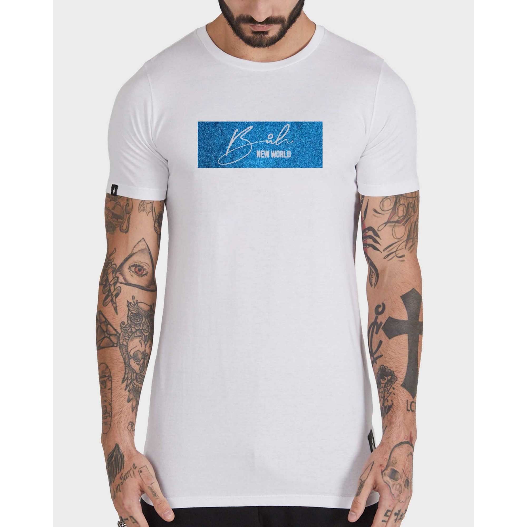 Camiseta Buh Glitter White & Blue